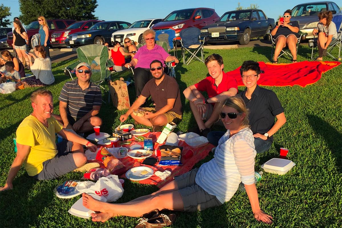 Lab picnic (l-r) Jameson Hinkle, Mete Civelek, Ian Gercek (BME Staff), Nicholas Asby, Lisa Chen, Ingrid Braenne (Farber Lab)